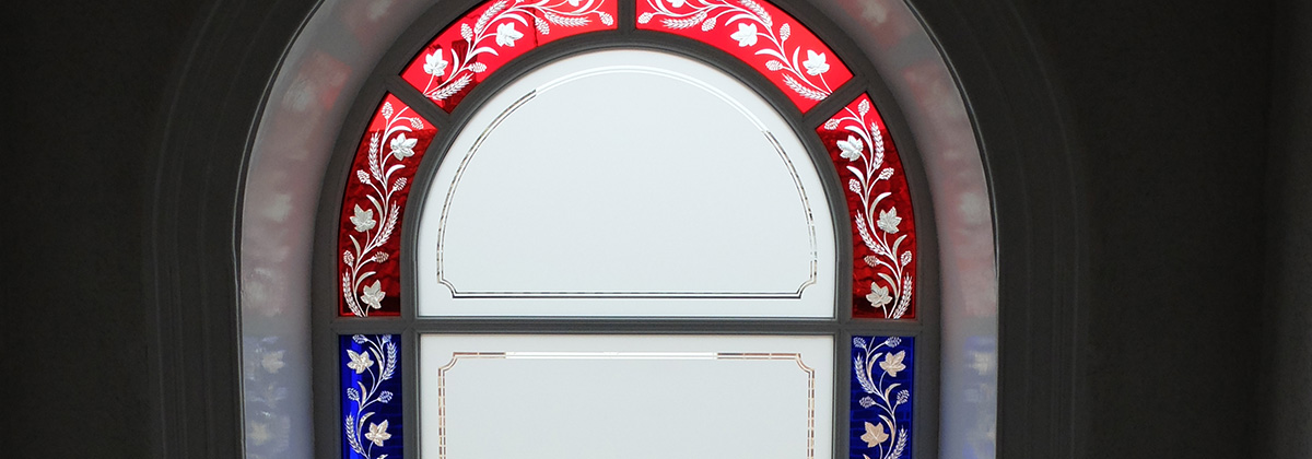 Arched Glass Window - stained glass appearance