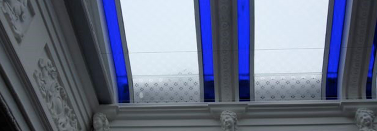 cobalt blue glass ceiling