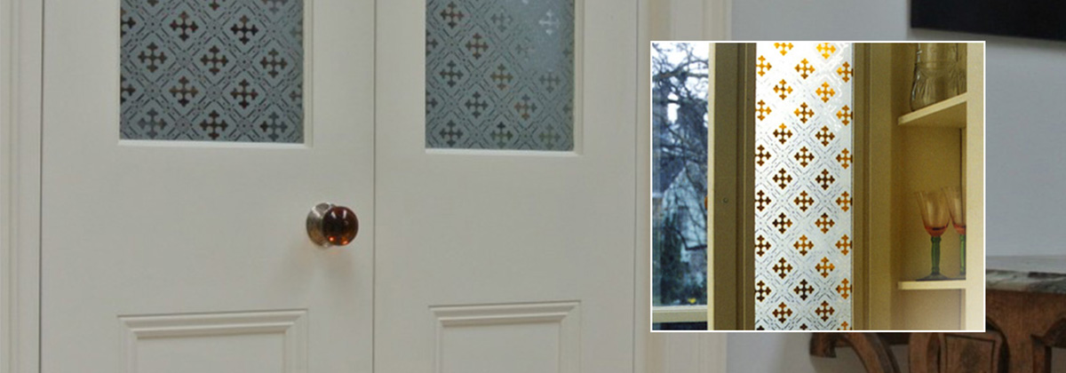 Etched Glass Two Pane door